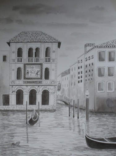 """Painting titled """"GRAND CANAL , ENCRE…"""" by Christiane Malet, Original Art,"""