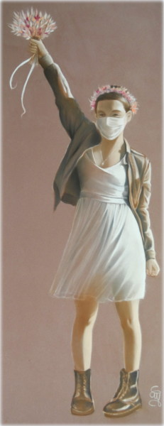 Painting, pastel, figurative, artwork by Christine Mergnat