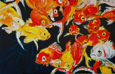 Fish Painting, acrylic, expressionism, artwork by Christophe Desrayaud