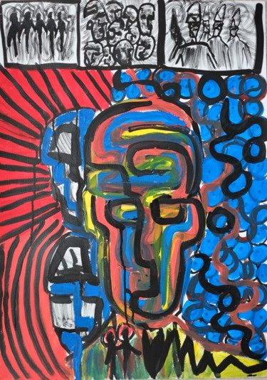 Painting, acrylic, outsider art, artwork by Genaudy