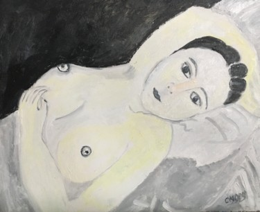 """Painting titled """"""""Modèle de Foujita"""""""" by Claire Marie Gay, Original Art, Oil Mounted on Wood Panel"""