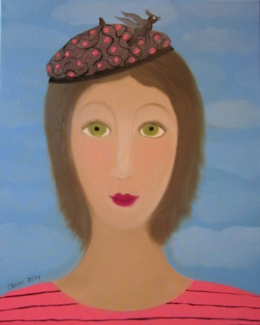 """Painting titled """"LA FILLE AU BERET"""" by Claire, Original Art, Oil Mounted on Stretcher frame"""