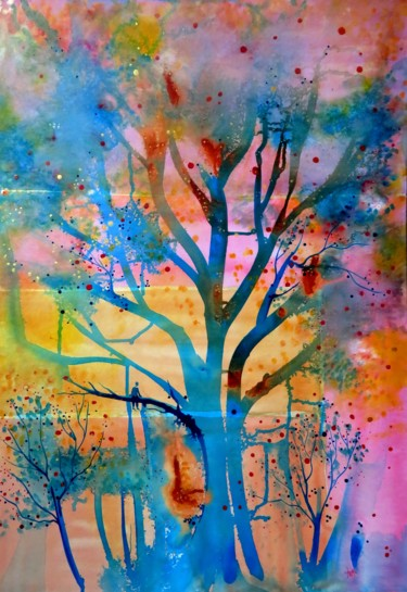 Tree Painting, ink, expressionism, artwork by Clau Redier-Clément
