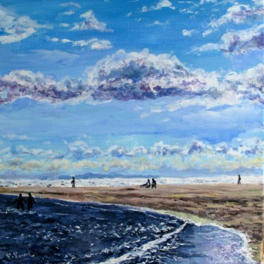 Beach Painting, acrylic, impressionism, artwork by Claude Evrard