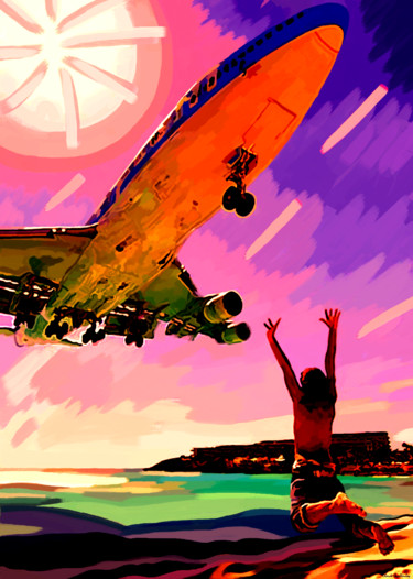 """Painting titled """"plane-guy-final-sig…"""" by Claude Guillaubey, Original Art,"""