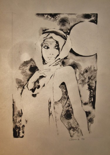 """Drawing titled """"Donna araba"""" by Claudio Clemente, Original Art, Ink"""