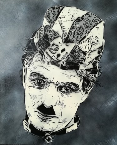 """Painting titled """"Charlie Chaplin"""" by Sérgio Clemente, Original Art, Acrylic"""