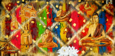 """Painting titled """"Buddha temple in pe…"""" by Conrad Bloemers, Original Art, Acrylic"""