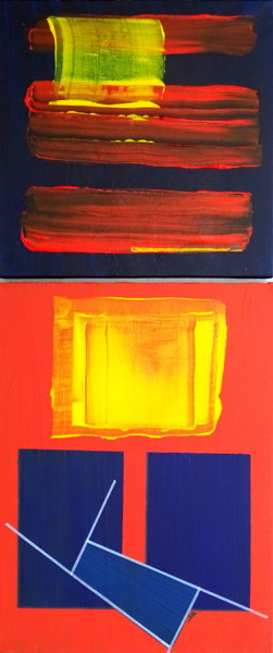 """Painting titled """"Blue and red streak"""" by Conrad Bloemers, Original Art, Acrylic"""
