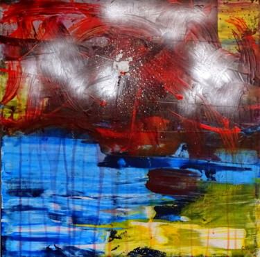 """Painting titled """"Flairs over the oce…"""" by Conrad Bloemers, Original Art, Acrylic"""
