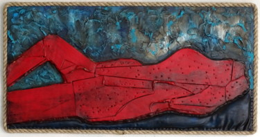 """Sculpture titled """"red laether lady"""" by Conrad Bloemers, Original Art, Oil"""