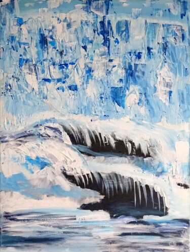 """Painting titled """"Winter cave"""" by Conrad Bloemers, Original Art, Oil Mounted on Stretcher frame"""