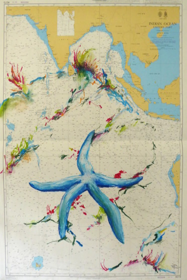 """Drawing titled """"Blue Starfish"""" by Constance Robine, Original Art, Pastel"""