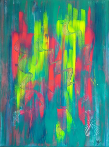 """Painting titled """"PRÉCIPITATION"""" by Rick Smith, Original Art, Acrylic Mounted on Stretcher frame"""