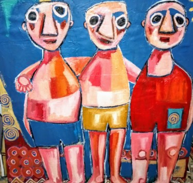 """Painting titled """"Les trois copains"""" by Copo, Original Art, Oil Mounted on Stretcher frame"""