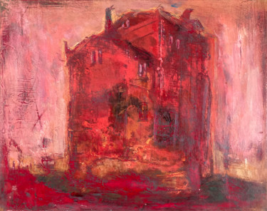 """Painting titled """"Red mill"""" by Vitalie Coroban, Original Art, Oil"""