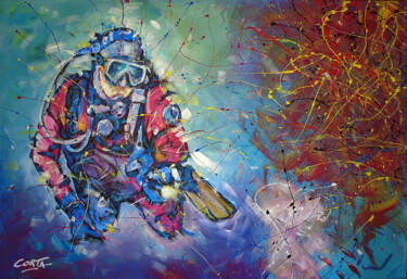 """Painting titled """"Plongeur-Corail"""" by Corta, Original Art, Acrylic Mounted on Stretcher frame"""