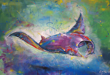 """Painting titled """"Raie Manta"""" by Corta, Original Art, Acrylic Mounted on Stretcher frame"""