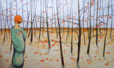 """Painting titled """"Winter woods"""" by Federico Cortese, Original Art, Oil"""