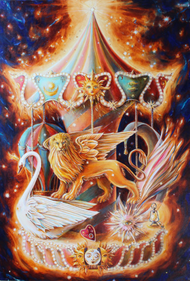 """Painting titled """"SPACE CAROUSEL"""" by Irina Markevich, Original Art, Oil Mounted on Stretcher frame"""