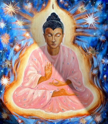"""Painting titled """"THE SHINING BUDDHA"""" by Irina Markevich, Original Art, Oil Mounted on Stretcher frame"""