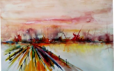 Painting, watercolor, abstract, artwork by Bernard Courtalon (courtaloni)