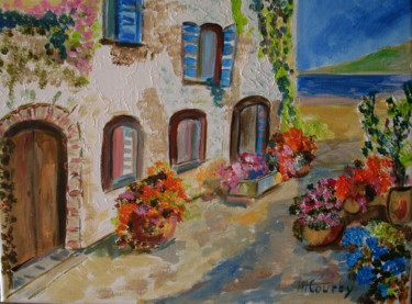 """Painting titled """"Village Côte d'Azur"""" by Myriam Courty, Original Art, Acrylic Mounted on Stretcher frame"""