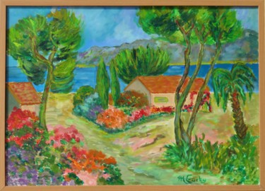 """Painting titled """"Côte d'Azur au prin…"""" by Myriam Courty, Original Art, Oil Mounted on Stretcher frame"""