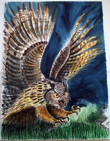 """Painting titled """"Owl"""" by David Quilliams, Original Art,"""