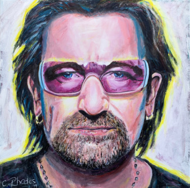 """Painting titled """"Bono with Shades"""" by Corbyn Rhodes, Original Art, Acrylic"""