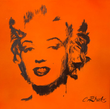 """Painting titled """"Orange Marilyn"""" by Corbyn Rhodes, Original Art, Acrylic Mounted on Stretcher frame"""