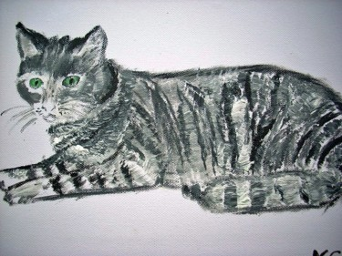 """Painting titled """"CHAT GRIS - GREY CAT"""" by Lodya, Original Art, Oil"""