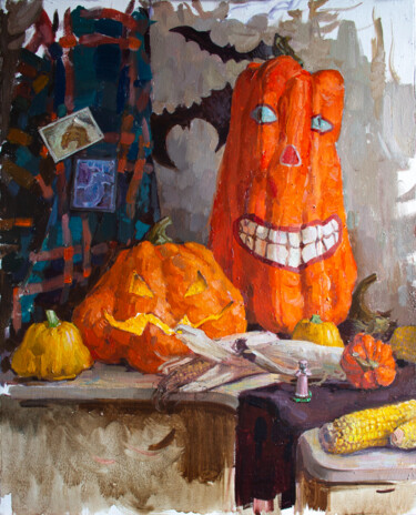 """Painting titled """"HARVEST SEASON. HAL…"""" by Cryptid, Original Art, Oil Mounted on Stretcher frame"""