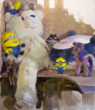 """Painting titled """"WHY ARE THEY ALL HE…"""" by Cryptid, Original Art, Oil Mounted on Stretcher frame"""