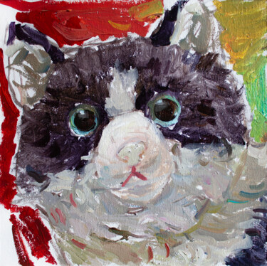 """Painting titled """"DISAPPOINTED CAT."""" by Cryptid, Original Art, Oil"""