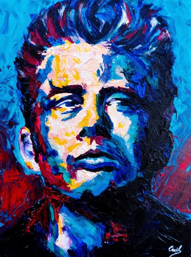 """Painting titled """"James Dean"""" by William Chemin, Original Art, Acrylic Mounted on Stretcher frame"""
