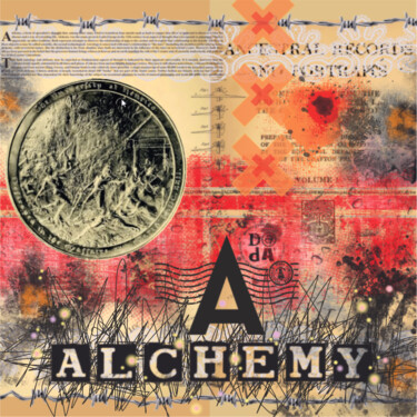 """Printmaking titled """"A is for Alchemy"""" by Viorel Florin Costea (DadaVFC), Original Art, Digital Painting Mounted on Stretcher…"""