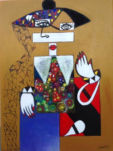 Painting, acrylic, cubism, artwork by Dafinë Vitija