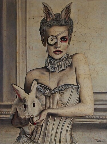 """Painting titled """"Alice grew up."""" by Daheaven, Original Art, Oil Mounted on Stretcher frame"""