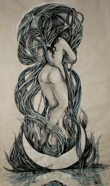 Women Drawing, charcoal, surrealism, artwork by Damayanty Mena Escalona