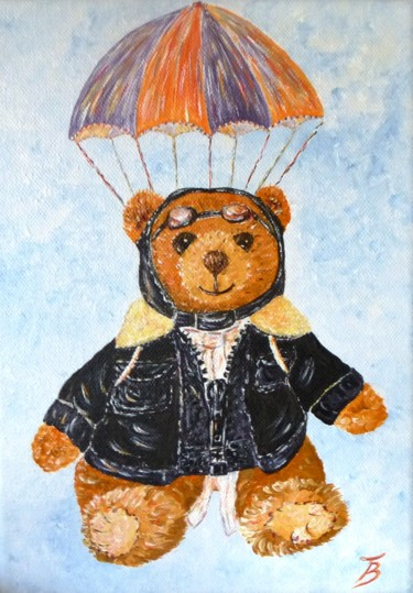 """Painting titled """"Nounours aviateur"""" by Danièle Kechidi, Original Art, Acrylic Mounted on Stretcher frame"""