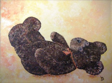 """Painting titled """"Nounours couché"""" by Danièle Kechidi, Original Art, Acrylic Mounted on Stretcher frame"""