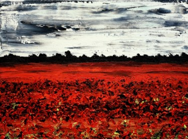 """Painting titled """"Poppies In The Stor…"""" by Daniel Urbaník, Original Art, Oil"""