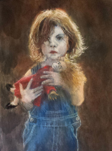 Kid Painting, pastel, impressionism, artwork by Dany Wattier