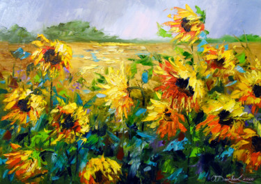"""Painting titled """"Wind and sunflowers"""" by Olha, Original Art, Oil"""