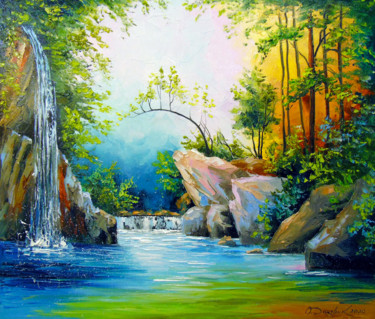 """Painting titled """"In the forest by th…"""" by Olha, Original Art, Oil"""