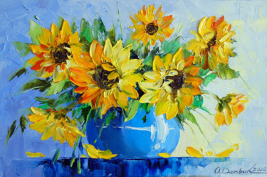"""Painting titled """"Bouquet  of  sunflo…"""" by Olha, Original Art, Oil"""