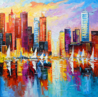 """Painting titled """"Evening new York"""" by Olha, Original Art, Oil"""