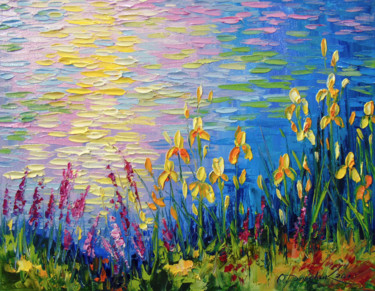 """Painting titled """"Irises by the pond"""" by Olha, Original Art, Oil"""