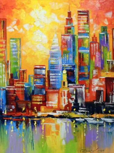 """Painting titled """"Bright new York city"""" by Olha, Original Art, Oil"""